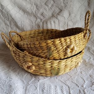 Vintage Woven Round  Nesting Baskets with Flowers